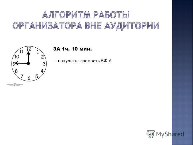 ЗА 1 ч. 10 мин. - получить ведомость ВФ-6