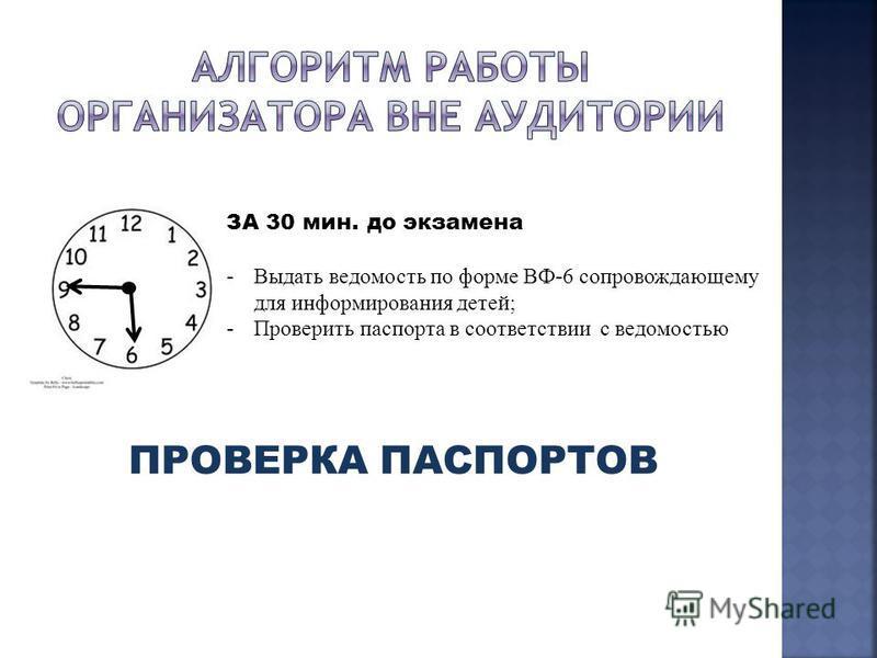 ЗА 30 мин. до экзамена -Выдать ведомость по форме ВФ-6 сопровождающему для информирования детей; -Проверить паспорта в соответствии с ведомостью ПРОВЕРКА ПАСПОРТОВ