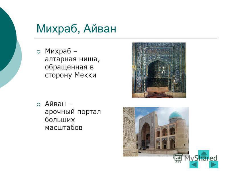 Михраб, Айван Михраб – алтарная ниша, обращенная в сторону Мекки Айван – арочный портал больших масштабов