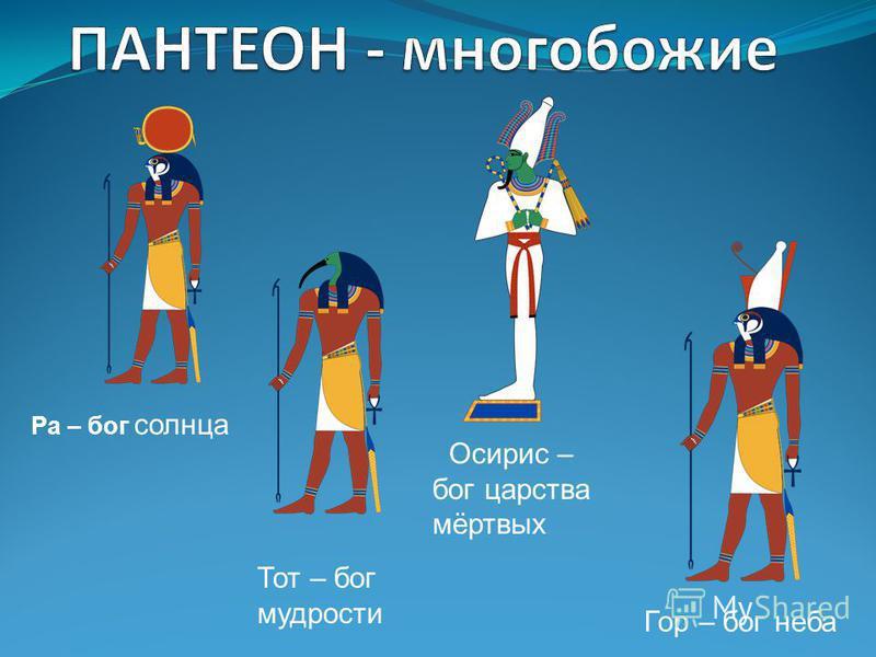 Ра – бог солнца Тот – бог мудрости Осирис – бог царства мёртвых Гор – бог неба