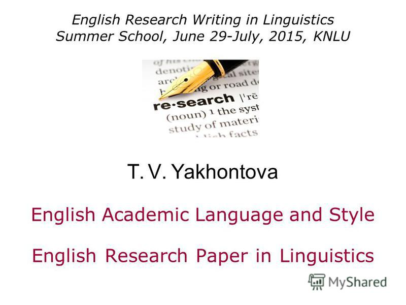 sample english linguistics research paper