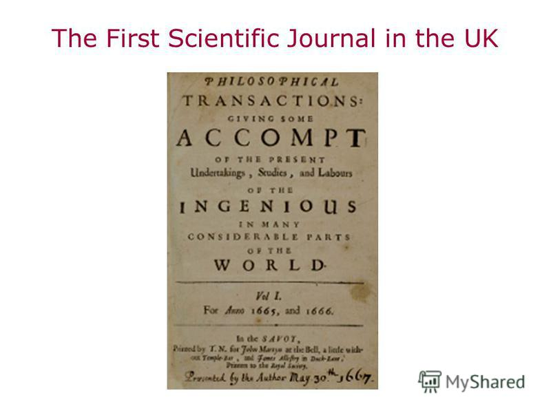 The First Scientific Journal in the UK