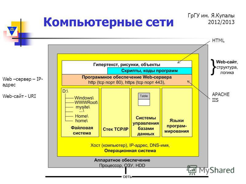 Компьютерные сети ГрГУ им. Я.Купалы 2012/2013 Web –сервер – IP- адрес Web-сайт - URI APACHE IIS HTML