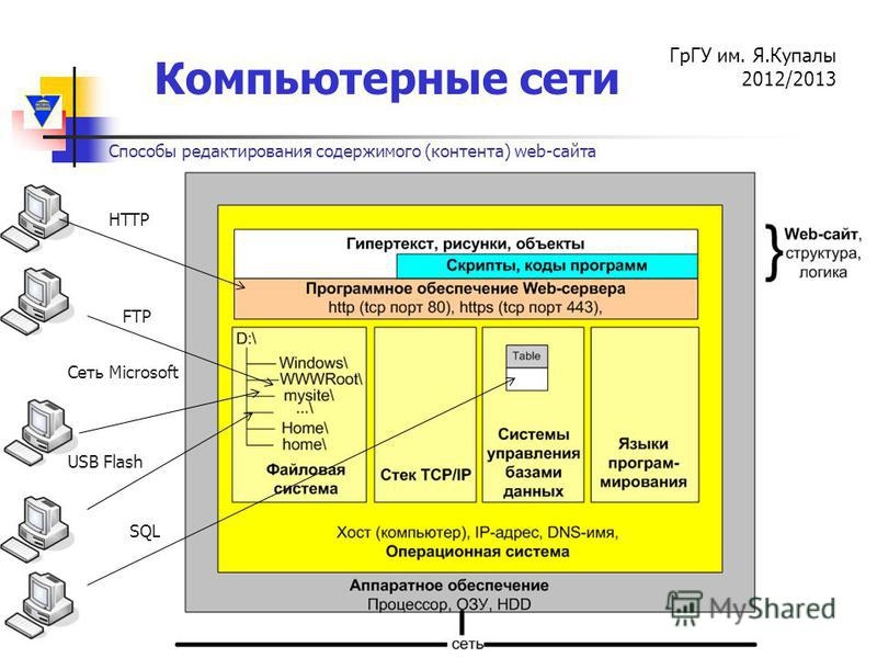 Компьютерные сети ГрГУ им. Я.Купалы 2012/2013 FTP HTTP Сеть Microsoft SQL USB Flash Способы редактирования содержимого (контента) web-сайта