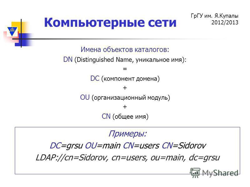 Компьютерные сети ГрГУ им. Я.Купалы 2012/2013 Имена объектов каталогов: DN (Distinguished Name, уникальное имя): = DC (компонент домена) + OU (организационный модуль) + CN (общее имя) Примеры: DC=grsu OU=main CN=users CN=Sidorov LDAP://cn=Sidorov, cn
