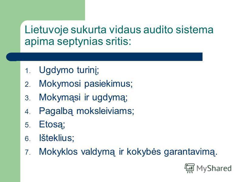 Lietuvoje sukurta vidaus audito sistema apima septynias sritis: 1. Ugdymo turinį; 2. Mokymosi pasiekimus; 3. Mokymąsi ir ugdymą; 4. Pagalbą moksleiviams; 5. Etosą; 6. Išteklius; 7. Mokyklos valdymą ir kokybės garantavimą.