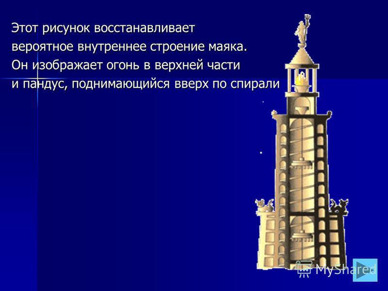 Этот рисунок восстанавливает вероятное внутреннее строение маяка. Он изображает огонь в верхней части и пандус, поднимающийся вверх по спирали