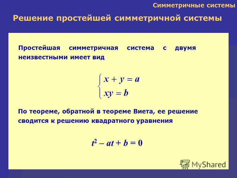 Простейшая симметричная система с двумя неизвестными имеет вид Симметричные системы По теореме, обратной в теореме Виета, ее решение сводится к решению квадратного уравнения Решение простейшей симметричной системы t 2 – at + b = 0
