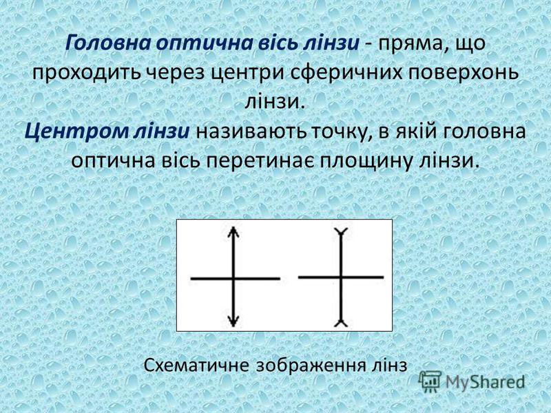 Головна оптична вісь лінзи - пряма, що проходить через центри сферичних поверхонь лінзи. Центром лінзи називають точку, в якій головна оптична вісь перетинає площину лінзи. Схематичне зображення лінз
