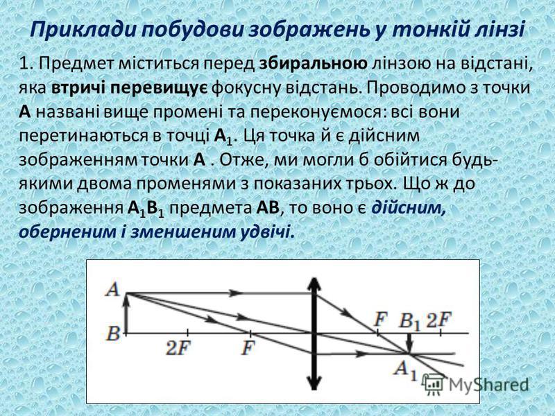 Приклади побудови зображень у тонкій лінзі 1. Предмет міститься перед збиральною лінзою на відстані, яка втричі перевищує фокусну відстань. Проводимо з точки A названі вище промені та переконуємося: всі вони перетинаються в точці A 1. Ця точка й є ді