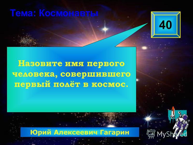 Назовите имя первого человека, совершившего первый полёт в космос. 40 Тема: Космонавты Юрий Алексеевич Гагарин