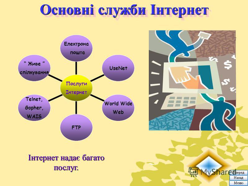 Основні служби Інтернет Інтернет надає багато послуг. Послуги Інтернет Електрона пошта UseNet World Wide Web FTP Telnet, Gopher, WAIS Живе спілкування