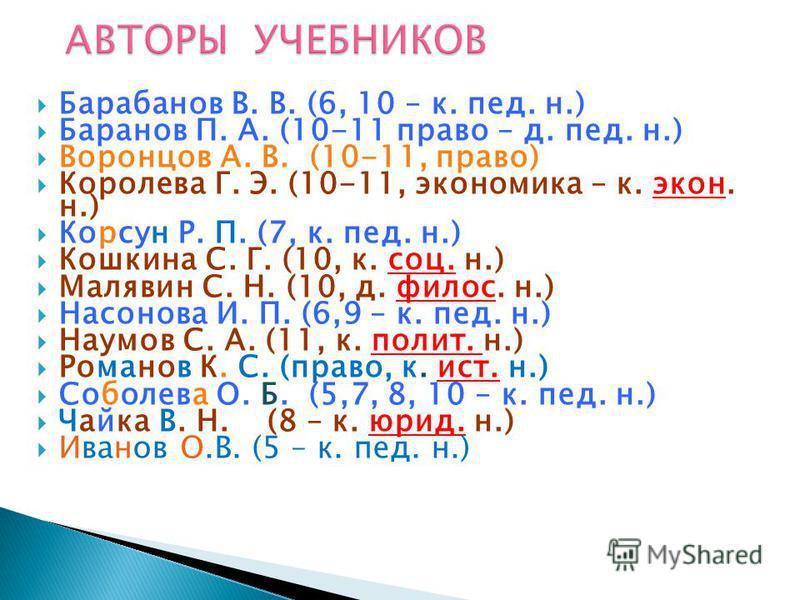 Барабанов В. В. (6, 10 – к. пед. н.) Баранов П. А. (10-11 право – д. пед. н.) Воронцов А. В. (10-11, право) Королева Г. Э. (10-11, экономика – к. экон. н.) Корсун Р. П. (7, к. пед. н.) Кошкина С. Г. (10, к. соц. н.) Малявин С. Н. (10, д. филос. н.) Н
