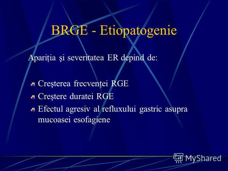 BRGE - Etiopatogenie Apariţia şi severitatea ER depind de: Creşterea frecvenţei RGE Creştere duratei RGE Efectul agresiv al refluxului gastric asupra mucoasei esofagiene