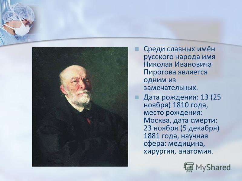 Среди славных имён русского народа имя Николая Ивановича Пирогова является одним из замечательных. Дата рождения: 13 (25 ноября) 1810 года, место рождения: Москва, дата смерти: 23 ноября (5 декабря) 1881 года, научная сфера: медицина, хирургия, анато