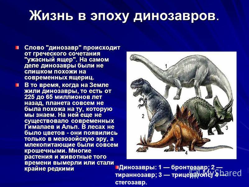 Жизнь в эпоху динозавров. Слово