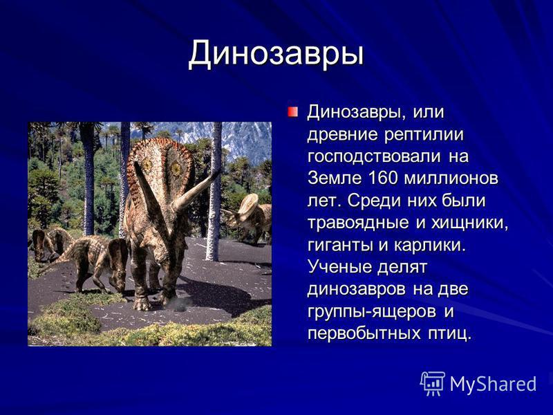 Динозавры Динозавры, или древние рептилии господствовали на Земле 160 миллионов лет. Среди них были травоядные и хищники, гиганты и карлики. Ученые делят динозавров на две группы-ящеров и первобытных птиц.