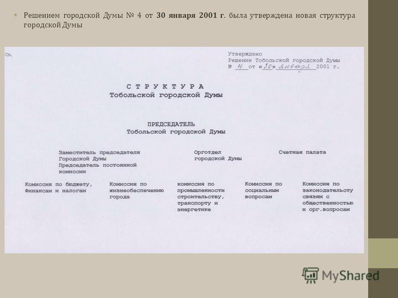 Решением городской Думы 4 от 30 января 2001 г. была утверждена новая структура городской Думы