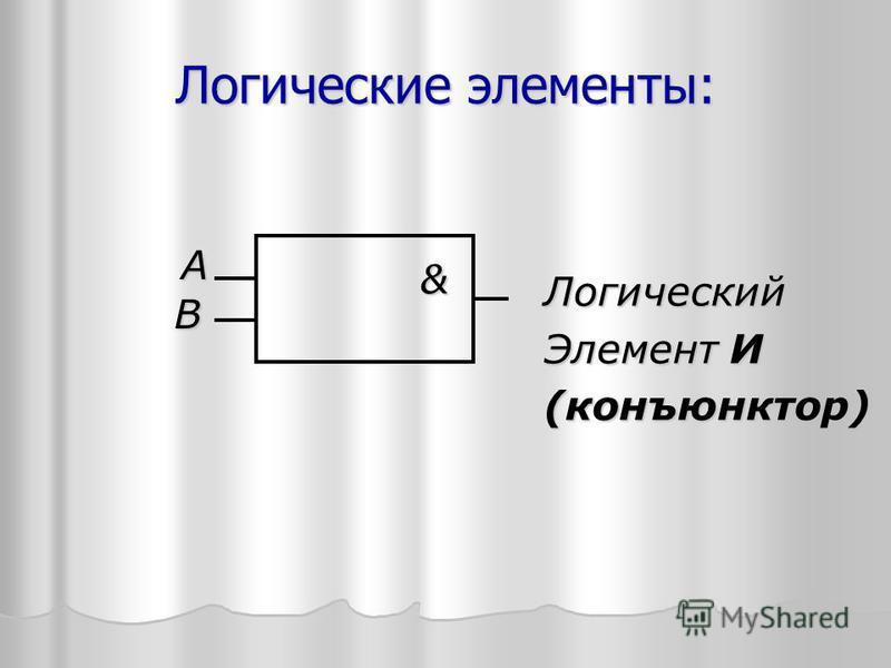 Логические элементы: А В & Логический Элемент И (конъюнктор)