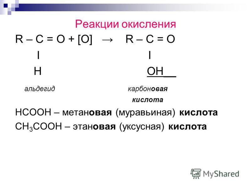 Реакции окисления R – C = O + [O] R – C = O Ι H OH__ альдегид карбоновая кислота НСООН – метановая (муравьиная) кислота СН 3 СООН – этановая (уксусная) кислота