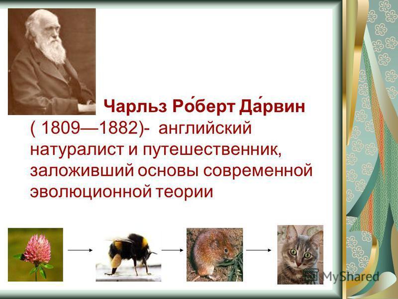 Чарльз Ро́берт Да́рвин ( 18091882)- английский натуралист и путешественник, заложивший основы современной эволюционной теории