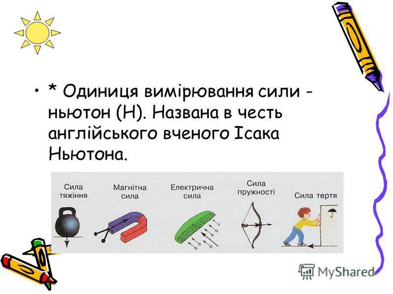 * Одиниця вимірювання сили - ньютон (Н). Названа в честь англійського вченого Ісака Ньютона.