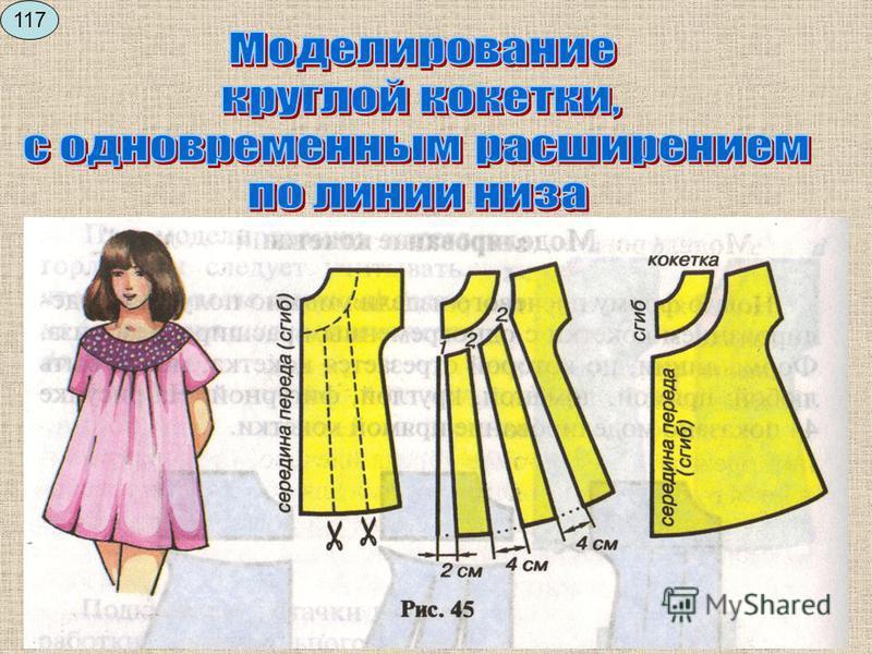 Описание внешнего вида: платье с цельнокраенным рукавом, на прямой кокетке по линии груди, расширенное к низу. Горловина круглая. Рекомендуемые ткани: ситец, бязь и т.д. 116