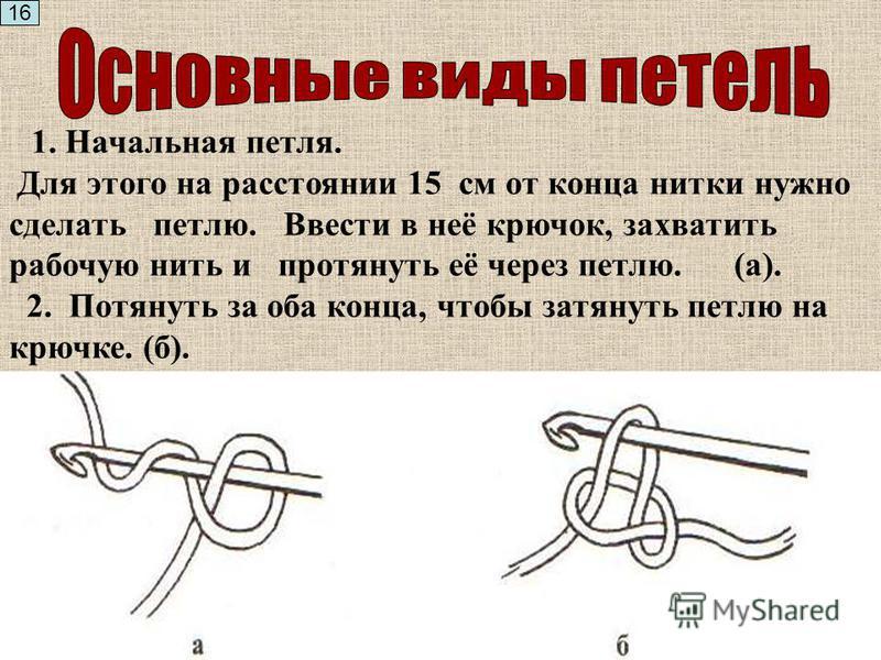 А) крючок держать как карандаш. Б) крючок держать как нож. 15