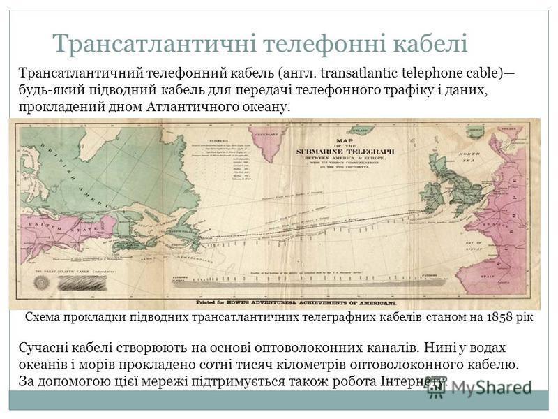 Трансатлантичні телефонні кабелі Схема прокладки підводних трансатлантичних телеграфних кабелів станом на 1858 рік Трансатлантичний телефонний кабель (англ. transatlantic telephone cable) будь-який підводний кабель для передачі телефонного трафіку і