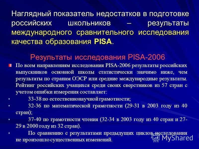 Наглядный показатель недостатков в подготовке российских школьников – результаты международного сравнительного исследования качества образования PISA. Результаты исследования РISA-2006 По всем направлениям исследования PISA-2006 результаты российских