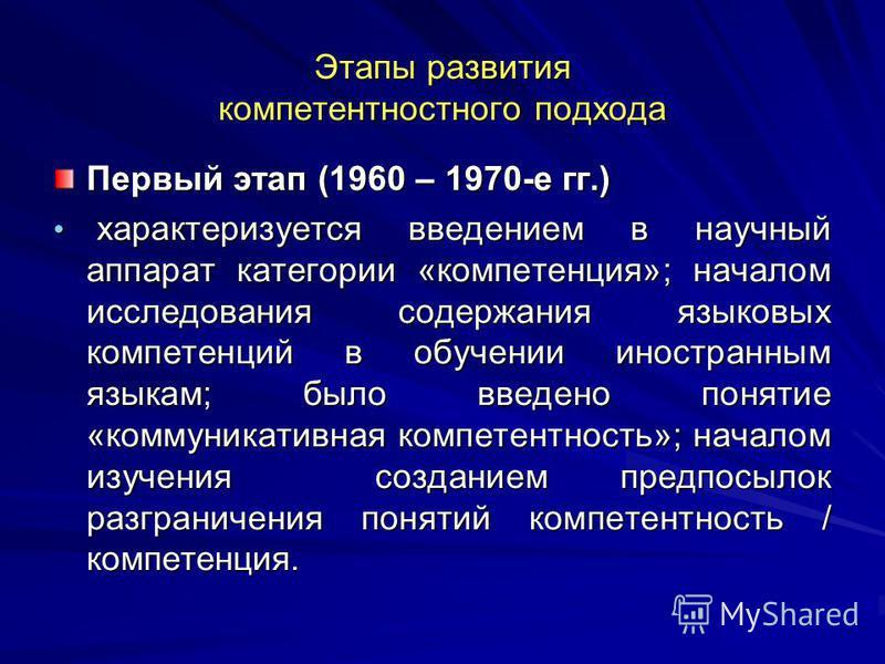Этапы развития компетентностного подхода Первый этап (1960 – 1970-е гг.) характеризуется введением в научный аппарат категории «компетенция»; началом исследования содержания языковых компетенций в обучении иностранным языкам; было введено понятие «ко