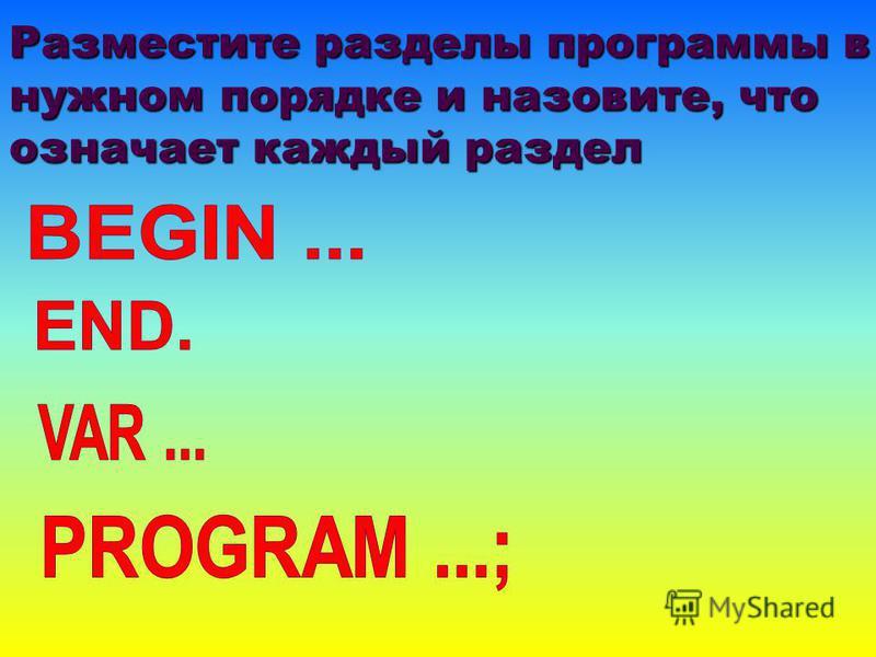 Разместите разделы программы в нужном порядке и назовите, что означает каждый раздел