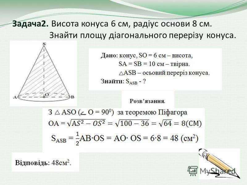 Задача2. Висота конуса 6 см, радіус основи 8 см. Знайти площу діагонального перерізу конуса.