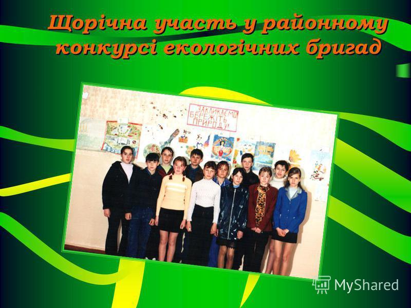 Щорічна участь у районному конкурсі екологічних бригад