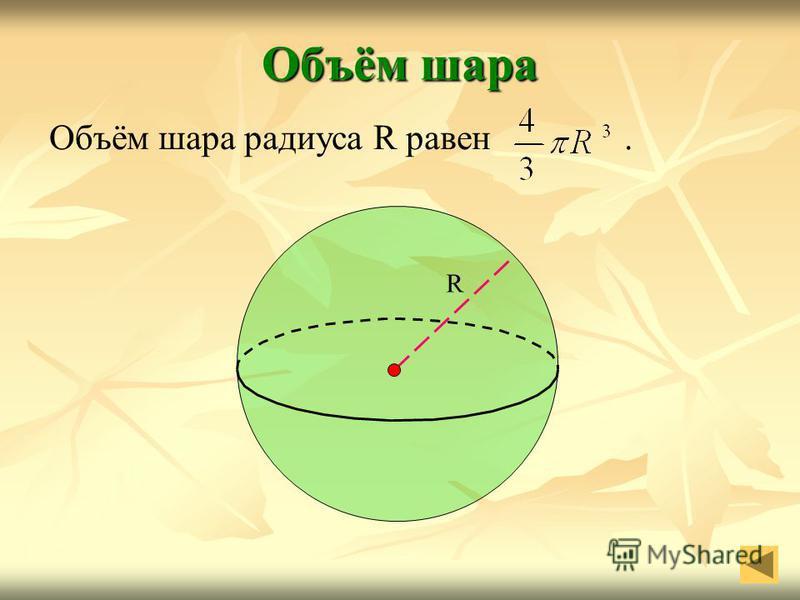 Объём шара Объём шара радиуса R равен. R