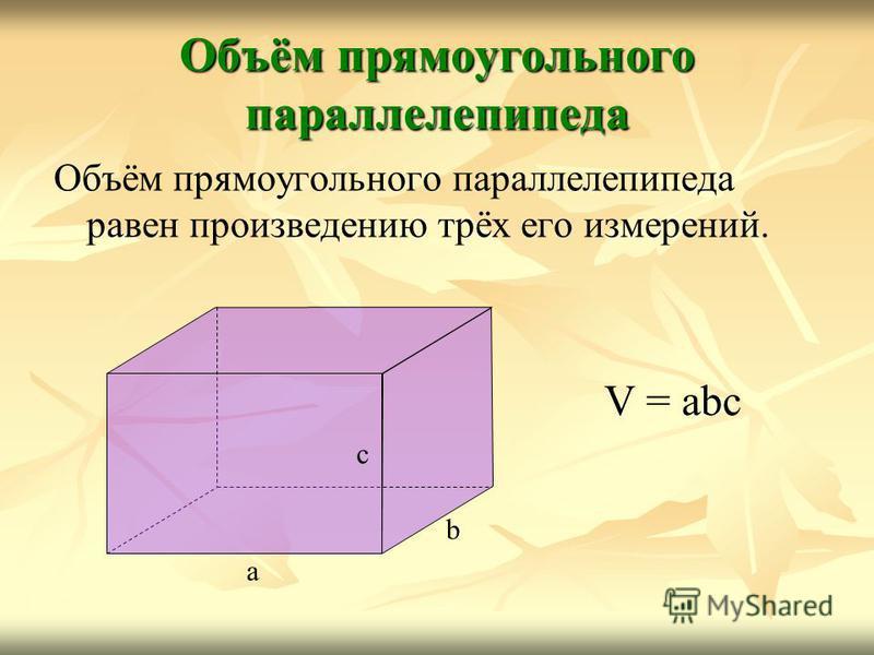 Объём прямоугольного параллелепипеда Объём прямоугольного параллелепипеда равен произведению трёх его измерений. a b c V = abc