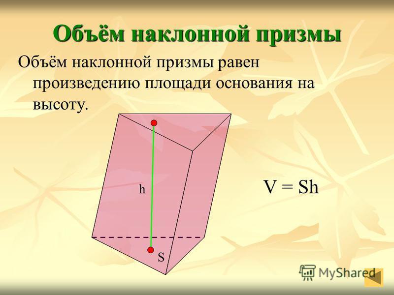 Объём наклонной призмы Объём наклонной призмы равен произведению площади основания на высоту. S h V = Sh