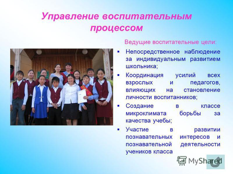 Управление воспитательным процессом Ведущие воспитательные цели: Непосредственное наблюдение за индивидуальным развитием школьника; Координация усилий всех взрослых и педагогов, влияющих на становление личности воспитанников; Создание в классе микрок