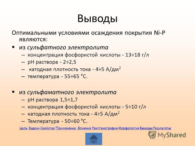 Выводы Оптимальными условиями осаждения покрытия Ni-P являются: из сульфатного электролита – концентрация фосфористой кислоты - 13÷18 г/л – рН раствора - 2÷2,5 – катодная плотность тока - 4÷5 А/дм 2 – температура - 55÷65 °С. из сульфаматного электрол