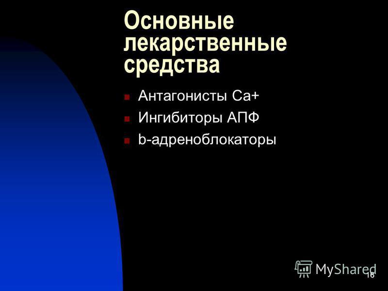 16 Основные лекарственные средства Антагонисты Са+ Ингибиторы АПФ b-адреноблокаторы