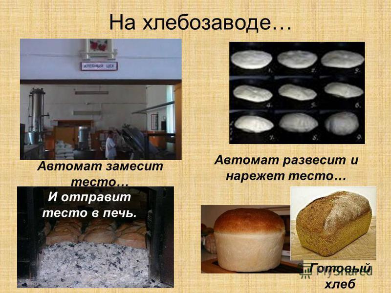 На хлебозаводе… Автомат замесит тесто… Автомат развесит и нарежет тесто… И отправит тесто в печь. Готовый хлеб