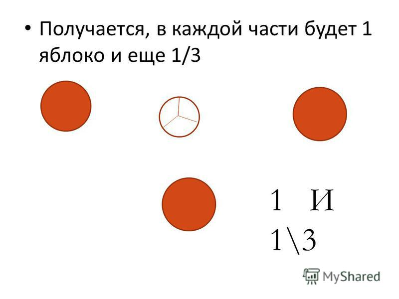 Получается, в каждой части будет 1 яблоко и еще 1/3 11 1 И 1\3
