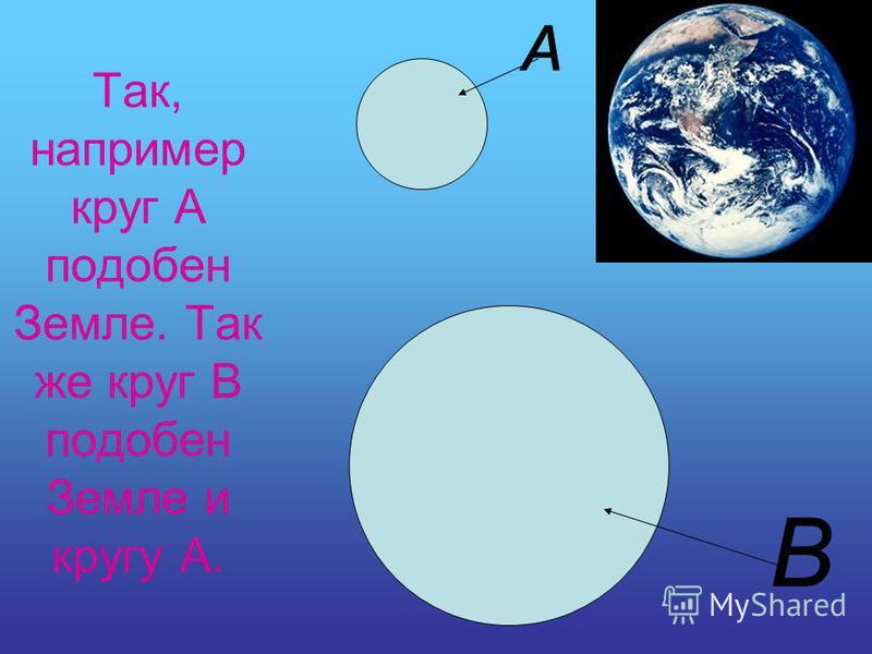 Так, например круг А подобен Земле. Так же круг В подобен Земле и кругу А.