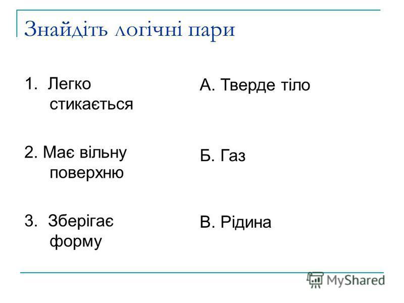 Знайдіть логічні пари 1. Легко стикається 2. Має вільну поверхню 3. Зберігає форму А. Тверде тіло Б. Газ В. Рідина