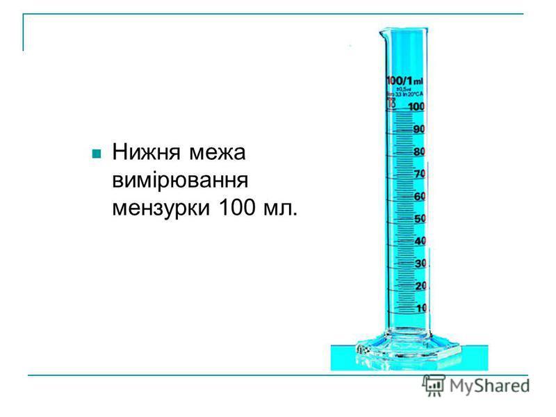 Нижня межа вимірювання мензурки 100 мл.