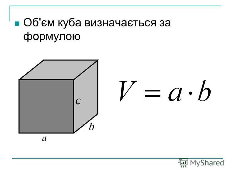 Об'єм куба визначається за формулою