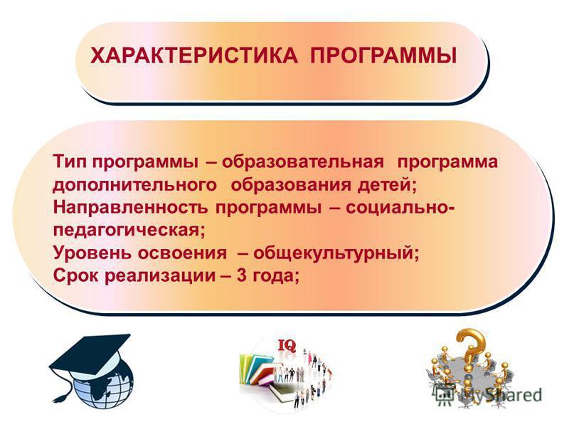 Тип программы – образовательная программа дополнительного образования детей; Направленность программы – социально- педагогическая; Уровень освоения – общекультурный; Срок реализации – 3 года; ХАРАКТЕРИСТИКА ПРОГРАММЫ