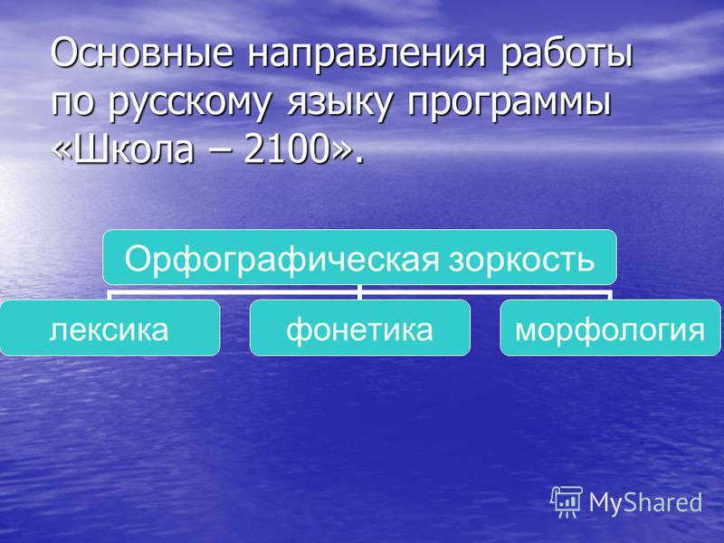 Основные направления работы по русскому языку программы «Школа – 2100». Орфографическая зоркость лексика фонетика морфолохгия
