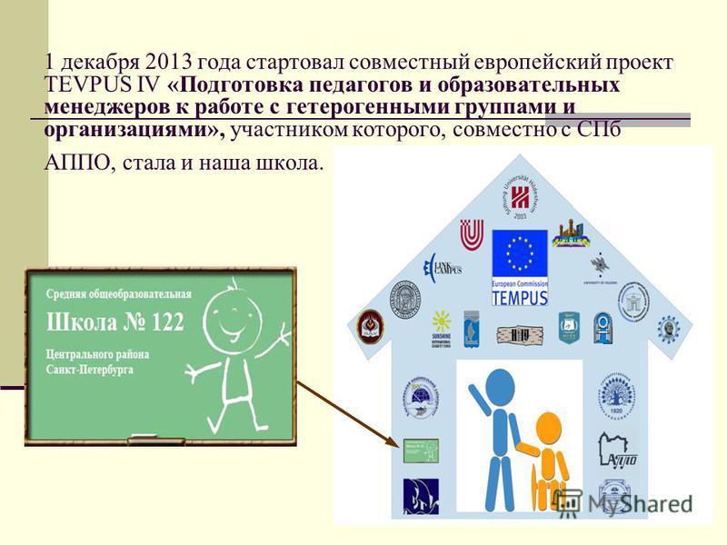 1 декабря 2013 года стартовал совместный европейский проект TEVPUS IV «Подготовка педагогов и образовательных менеджеров к работе с гетерогенными группами и организациями», участником которого, совместно с СПб АППО, стала и наша школа.