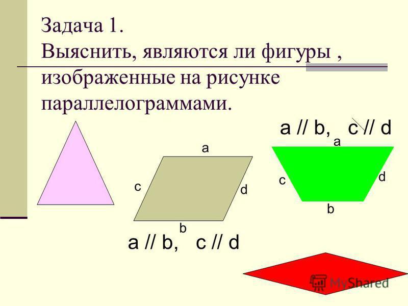 Задача 1. Выяснить, являются ли фигуры, изображенные на рисунке параллелограммами. b a c d a c d b a // b, c // d